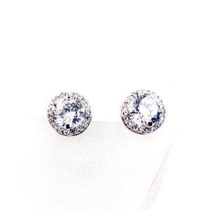 Shining silver single crystal earrings